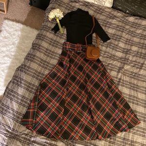 Zara long retro plaid skirt with belt